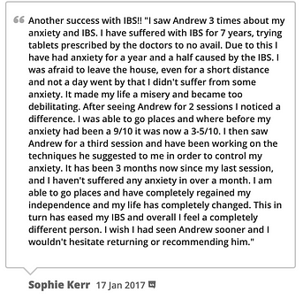 IBS therapy testimonial